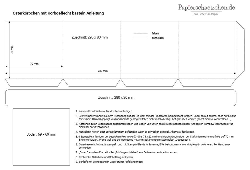 Anleitung für Osterkörbchen mit Korbgeflecht basteln