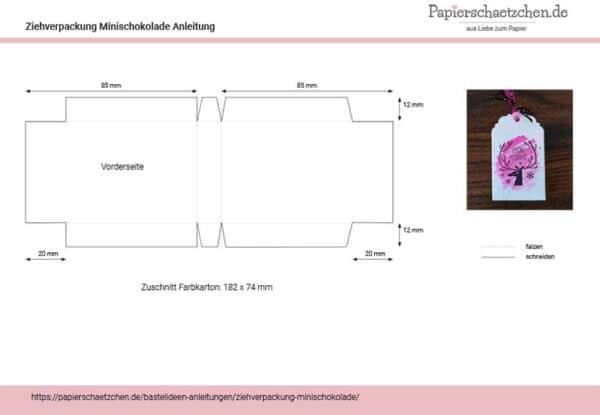 Anleitung für Ziehverpackung für Minischokolade
