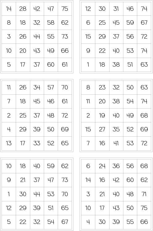 speilschein für bingo zum ausdrucken
