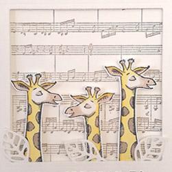 gebastelte geburtstagskarte mit singenden giraffen wild auf grüße stampin up