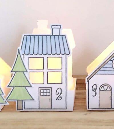 Adventsdeko mit beleuchteten Häuschen von Stampin up