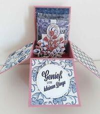 card in a box mit farbkarton in rokokorosa