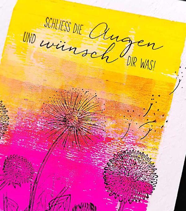 Geburtstagskarte gestempelt auf Acrylfarbe