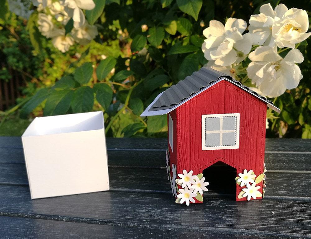 geschenkbox basteln anleitung schwedenhaus mit box