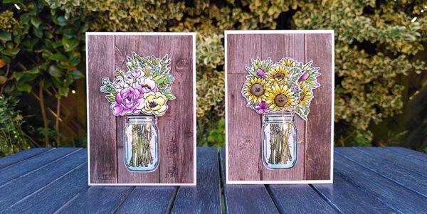 Grusskarten selbst gebastelt mit stempelset jar of flowers von stampin up