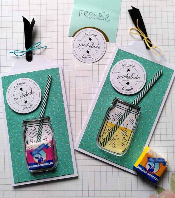 selbstgemachte Glückwunschkarten mit Brausebrocken
