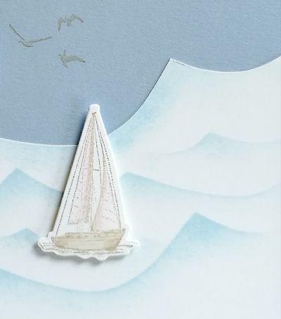 stempelset setz die segel mit wellen hintergrund mit masking technique