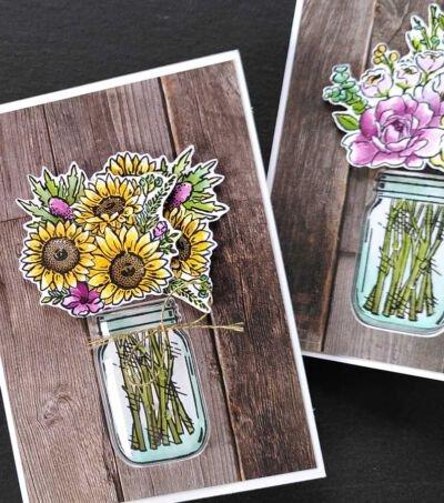 stempel colorieren mit aquarelltechnik jar of flowers